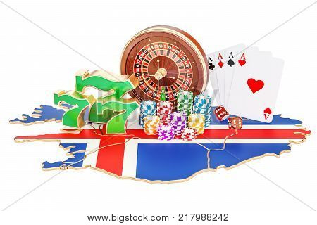 Casino and gambling industry in Iceland concept 3D rendering isolated on white background