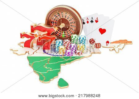 Casino and gambling industry in India concept 3D rendering isolated on white background