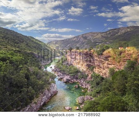 Scenic panoramic view of the canyon of the river Tara in Montenegro