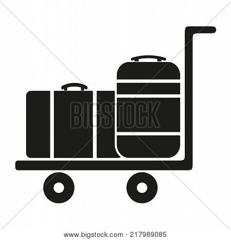 Luggage Cart With Suitcase on a white background
