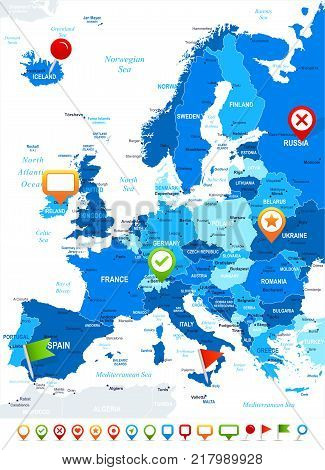Europe - map and navigation icons - vector illustration