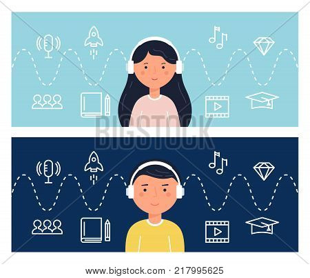Students Learning Through Podcasts and Webinars. Education and Internet Technology. Blended Learning Concept Illustration. Vector Design.