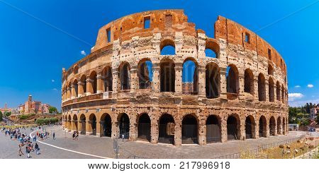 Colosseum or Coliseum, also known as the Flavian Amphitheatre, the largest amphitheatre ever built, in the centre of the old city of Rome, Italy.