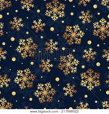 Christmas Seamless Pattern of Snowflakes on Dark Backdrop. Winter Continuous Background for Cloth Fabric Textile Tissue Pack Paper Wrapping Paper.