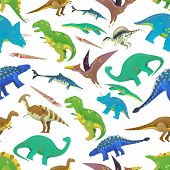 Seamless pattern with prehistoric ocean fish and jurassic dinosaurs or dino. Brachiosaurus and brachiosauridae, saichania and tyrannosaurus rex, t-rex and pterodactyl. Zoology and history theme poster
