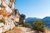 Rocky landscape in Siurana de Prades Tarragona Catalunya Spain. Copy space for text poster