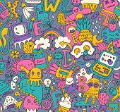 Hand drawn detailed cartoon doodle pattern with lots of different elements, letters, monsters, strange creatures , stars, hearts, rainbows ets. Vector background . poster