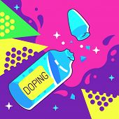 Doping Ampoule Vector Illustration in Pop Art Style poster