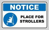 Place for strollers sign. Blue mandatory icon isolated on white. Vector illustration. Information symbol. Entrance for mothers with children. poster