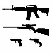 AR-15 style Semi-Automatic Rifle, Bolt Action Rifle and Pistols Silhouette Vector poster