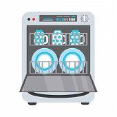 Freestanding dishwasher, dishwashing machine with open door, plates and mug inside, flat vector illustration isolated on white background. Flat style picture of dishwasher, dishwashing machine poster