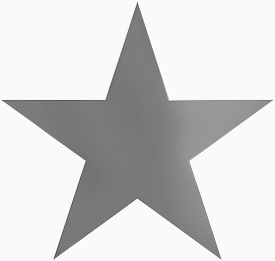 Christmas Star White - Outlined 5 Point Star - Isolated On White