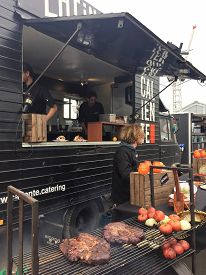 Brussels, Belgium - May 7, 2017:  A Latin American food truck selling Mexican, Brazilian and Peruvian inspired cuisine at the Brussels Food Truck Festival.