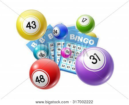 Bingo Lotto Game Balls And Lottery Cards With Lucky Numbers. Vector Poster For Bingo Lottery Tv Show