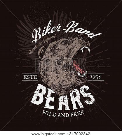 Biker Club Badge, Roaring Bear Sketch T-shirt Print Template. Vector American Legend Biker Band Icon