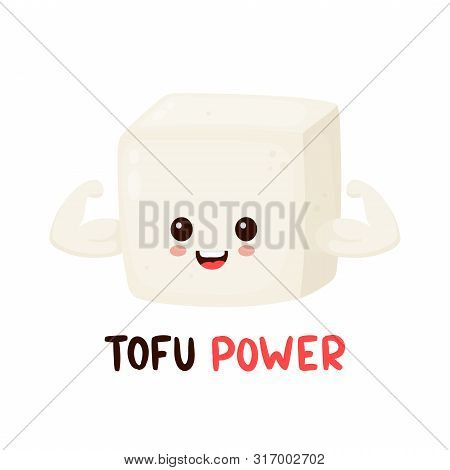 Cute Happy Smiling Strong Tofu Show Muscle Biceps. Vector Flat Cartoon Character Illustration Icon D