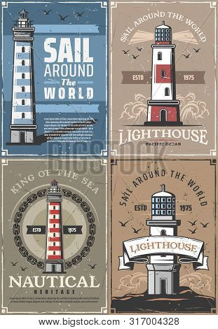 Nautical Lighthouse, Seafarer Marine Adventure And Sailing Heritage Vintage Posters. Vector Retro Oc