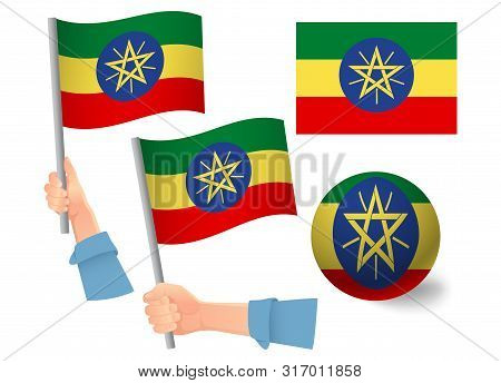 Ethiopia Flag In Hand Set. Ball Flag. National Flag Of Ethiopia Vector Illustration