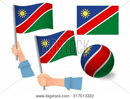 Namibia Flag In Hand Set. Ball Flag. National Flag Of Namibia Vector Illustration