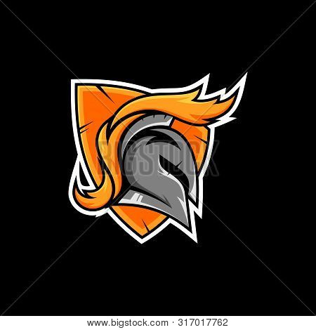shield spartan esport emblem logo.modern sport team/gaming design.badge guard.warrior vector illustration poster