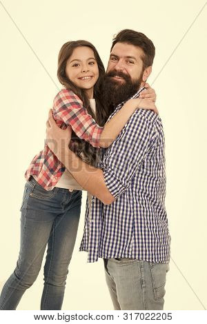 Happy Family. Bearded Man Father With Happy Daughter. Little Girl Love Her Father. Happy Moments. Fa