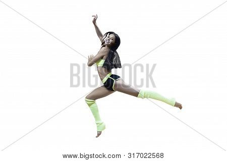 Sporty Dancing Girl In Yellow And Black Outfit Isolated On White. Gymnastics Art. Happy Smiling Fema