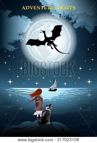 Girl With A Dog, Rear View, By The Sea. Flying Dragon On The Background Of Huge Full Moon And Starry