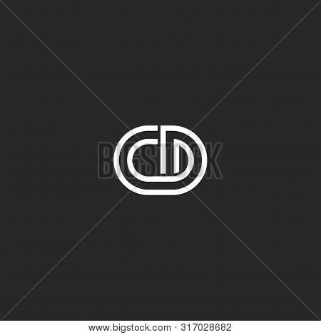 Logo Monogram Cd Or Dc Letters Thin Lines Creative Stylish Design Element, Two Overlapping Marks C A