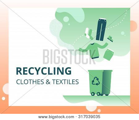 Textile Waste Recycling Concept For Landing Page, Template, Ui, Web. Old Clothing And Fabric For Rep