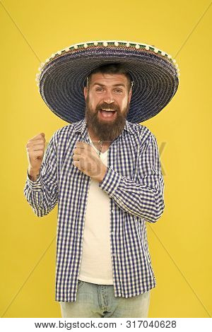 To Your Mexican Theme Party. Hipster In Wide Brim Hat. Mexican Man Wearing Sombrero. Bearded Man In