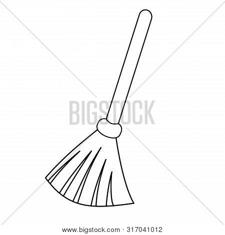 Broom Outline Icon. Besom With Stick Simple Line Vector Template.  Linear Style Sign For Mobile Conc
