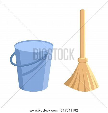 Bucket And Broom. Pail With Handle And Besom With Stick. Housework Tools For Cleaning Garbage In The