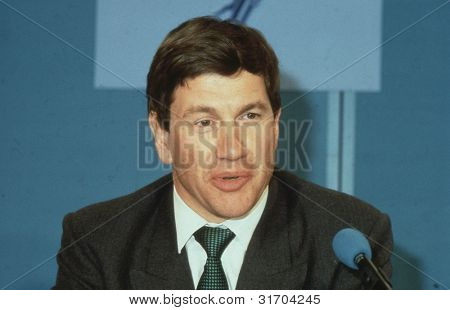 LONDON - APRIL 10: Michael Portillo, Minister for Local Government and Conservative party Member of Parliament for Enfield, Southgate, speaks at a press conference on April 10, 1991 in London, England.