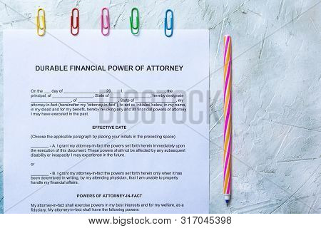 Durable Financial Power Of Attorney Form On Bright Background