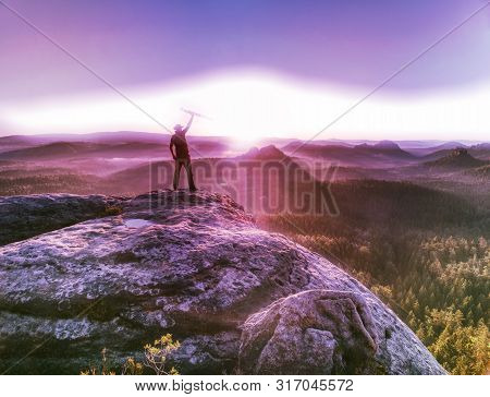 Tall Man In Sports Clothes Enjoy Morning View Into Pure Nature Landscape. Guy Clear His Soul.  Abstr