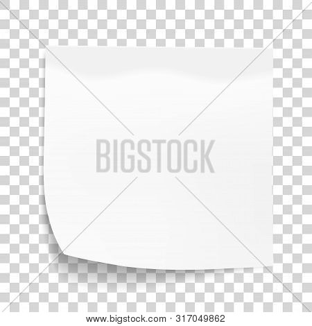 White Sheet Of Note Paper Isolated On Transparent Background. Sticky Note. Mockup Of White Note Pape