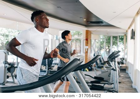 Side View Of Multiracial Sportsmen Working Out On Treadmills In Gym On Daytime. Multiethnic Males Ru