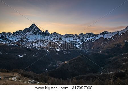 Monviso is the most important peak in Alpi Cozie, Cuneo's country, Piedmont, Italy poster