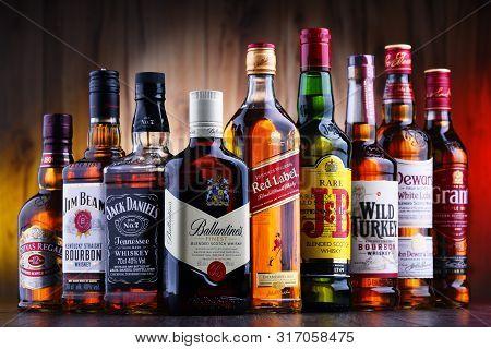 Poznan, Poland - Jul 5, 2019: Bottles Of Several Global Whiskey Brands, The Most Popular Liquor In T