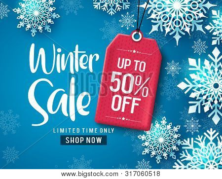 Winter Sale Vector Banner Design. Winter Sale Discount Text With White Snowflakes And Red Tag Elemen