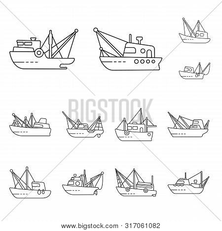 Vector Design Of Commercial And Vessel Logo. Collection Of Commercial And Speedboat Stock Vector Ill
