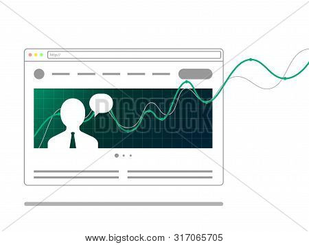Web Browser Concept. Template News Site With Photos, Text, And Growing Financial Graph. Line