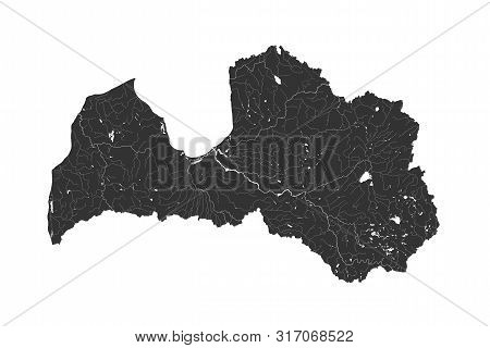 Baltic States - Map Of Latvia. Hand Made. Rivers And Lakes Are Shown. Please Look At My Other Images