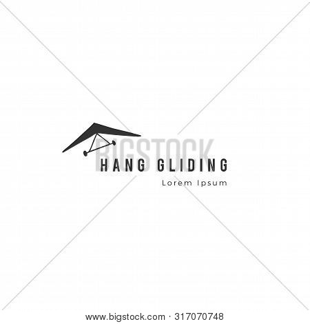 Sky Sports Logo Template. Hand Drawn Vector Isolated Icon. Hang Gliding.