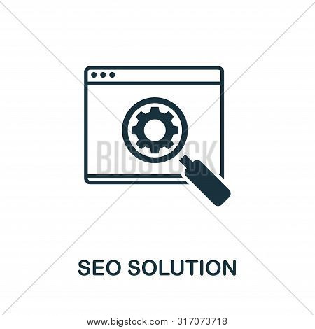 Seo Solution Vector Icon Symbol. Creative Sign From Seo And Development Icons Collection. Filled Fla