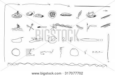 Hand Drawn Icons Elements Scetch Food Menu Arrows Line Vector