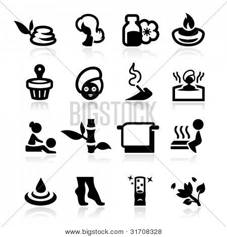 Spa icons set elegant series