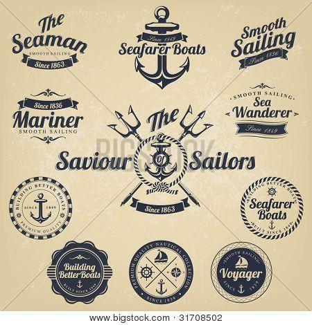 Conjunto de insignias náuticas Retro Vintage y etiquetas