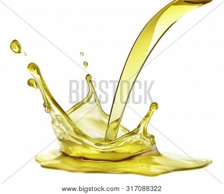 Olive Or Engine Oil Splash, Cosmetic Serum Liquid Isolated On White Background. 3d Illustration