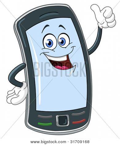 Caricature de téléphone intelligent avec le pouce vers le haut